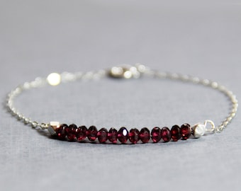 Garnet and .925 Sterling Silver Bracelet - January Birthstone Bracelet - Garnet Bracelet