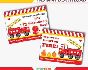Firetruck Valentine Cards - Fire Truck Valentine - Firetruck Valentine - Valentines Day Cards for Kids - Printable (Instant Download)
