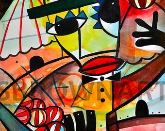 The Juggler II Watercolor Print, Circus Art, Circus Wall Art, Juggling Print, Whimsical Art, Ringling Bros, Nursery Art,Colorful Wall Art