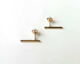 Earrings features gold plated 18 k - earrings small strokes, sticks, stems - stick earrings gold plated 18 k