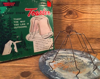 Vintage Camping Toaster Rusty Metal Display Piece with box