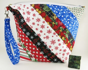 """Knitting Project Bag - Large Zipper Knitting Project Bag """"Christmas Past 2"""" (Wedge Style): with detachable handle! (10"""" x 13"""" x 5"""" base) (V)"""