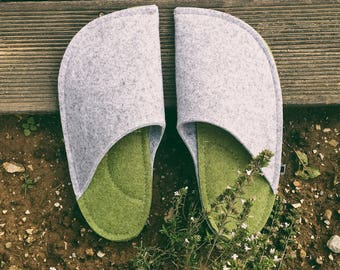 Green and Gray Home Shoes - slippers handmade of wool felt, comfortable, warm, stylish -  Husband and boyfriend gift idea