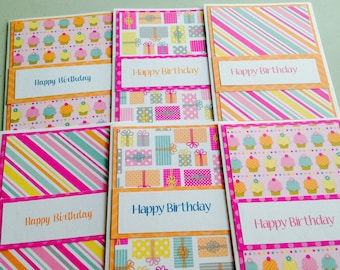 Birthday Cards, Girls Birthday Cards, Set of 6 Cards and Envelopes