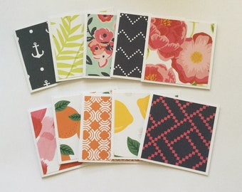 Mini tropical note cards, bright mini card set of 10, gift cards, thank you cards, fruit cards