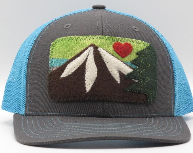 Mountain Love Blue Baseball Trucker Hat