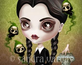 Be Afraid 8 x 10 Print Wednesday Addams Digital Illustration by Sandra Vargas