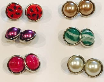 Six sets of 12mm Snap Buttons for Earrings, Bracelets, Necklaces, Etc.