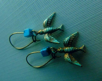 SALE Bird And Turquoise Earrings