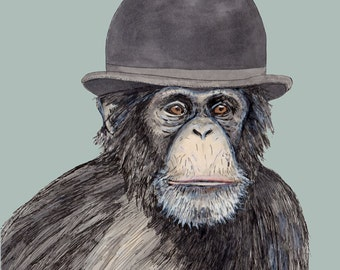 Important monkey in a bowler hat card