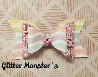 Pastel Rainbow Hair Bow,Pastel Glitter Hair Bow,Rainbow Headband,Pastel Stripped Bow,Leather Bows, Glitter Bow,Toddler Bows,Girls Hair Clips