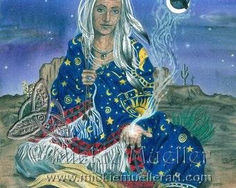 Waning Moon Woman, Crone, Open Edition Print