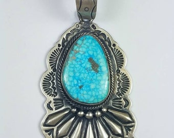 Vintage Native American Navajo handmade Sterling Silver High-grade Waterweb Turquoise stone pendant by S. Tso