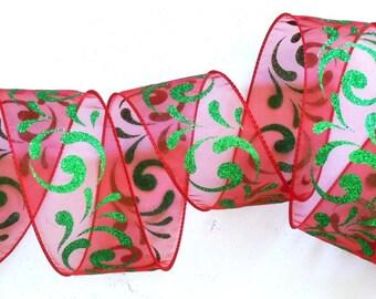 """Red Kelly Swirls Christmas Wire Edged Ribbon sparkle Filigree Swirls Green Red Christmas Wired Ribbon Wreath Ribbon 2.5"""" 5yd"""