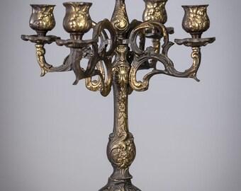 """14"""" Baroque Candelabra Gilded Bronze 5 Tier Vintage Candle Holder"""