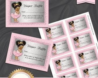 Printable Diaper Raffle Cards, Diaper Raffle Card, Little Princess, Royal Baby Shower, Pink Silver, Tu Tu Ballerina, Instant Download, BS15