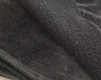 """Black Double Layer Bamboo Velour and Hemp French Terry Wipes, Set of 4, 7x7"""" (18x18cm), Organic Washcloth"""