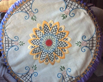 VINTAGE EMBROIDERED PILLOW mid century decor, purple, hand stiched, boudoir, colorful. Ooak