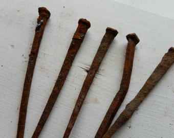 5 Large Rusty Bent Vintage Square Nails for Assemblage Art, Collage