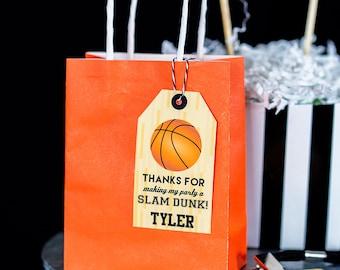 Basketball Favor Tag - Printable Basketball Party Favor Tags - Basketball Thank You Tag by Printable Studio
