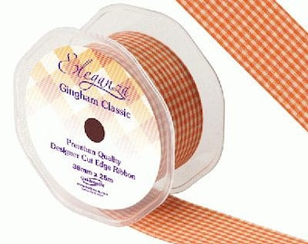 Orange Gingham Small Check Fabric Ribbon 25m Long by 38mm Wide