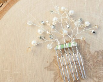 Bridal Hair Comb | Pearl and Crystal Bridal Hair Accessory | Sprig Hair Comb