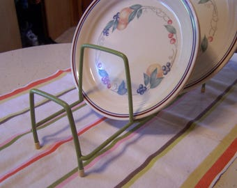 Vintage 40s-50s Green Rubber Coated Plate Rack, Glamping, Cupboard Space Saver, Cupboard Dish Rack, MCM Kitchen