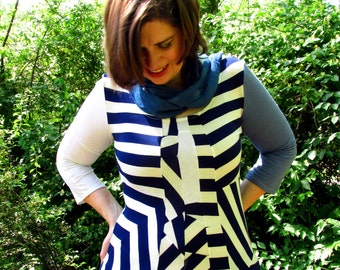 L. Size large womens Geometric Stripe Blouse, half sleeves, chevron, navy and white stripes, scoop neck. Upcycled.