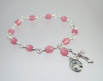 Saint Agatha Rosary Bracelet Patron Saint of Breast Cancer