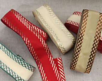 Woven Ribbon with metallic threads, red & BEIGE 001, 40 mm wide, made in Europe