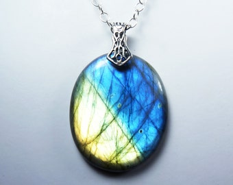 HUGE Flashy Blue Labradorite and Sterling Silver Necklace, LARGE Labradorite and Silver Pendant, Vibrant Sky Blue & Gold Flash, Silver Bail