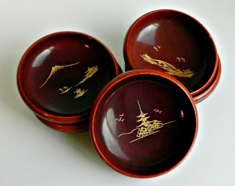 Japanese Lacquer Bowls, Vintage Asian Rice Bowls, Asian Soup Bowls, Dark Brown Wooden Lacquer Bowls, Set of 5.