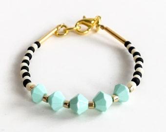 Baby Bracelet - toddler bracelet - baby girl jewelry- baby blue - black and white bracelet - beaded bracelet