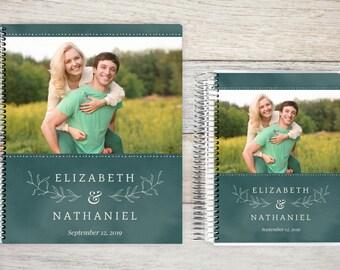 Custom Wedding Planner, Wedding Planning Guide, Wedding Planner Book, Bride to be Present, Engagement Gift, Botanical Leaf