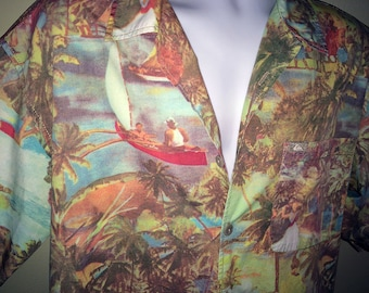 Men's Vintage 80s Hawaiian Shirt 1940s 1950s style PHOTO PRINT Hula Dancing Girls Postcard Look Cotton Camp Shirt Aloha Shirt Quicksilver LG