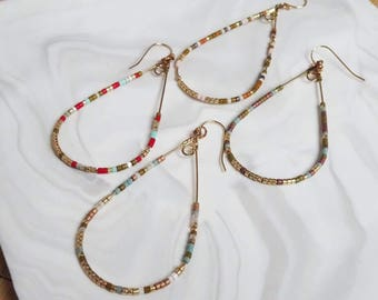 Classic earrings or multicolor, yellow, Brown, red, white clip on backing gouttecreole gold