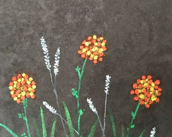 Small Garden, Beautiful Flowers,  Painting on suede fabric, Oil Painting, Wall Art Canvas, decorative painting