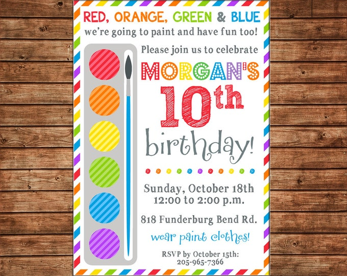Boy or Girl Invitation Paint Palette Rainbow Stripe Art Birthday Party - Can personalize colors /wording - Printable File or Printed Cards