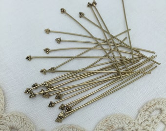 20 cluster ball tip antique  gold coated steel head pins for wire wrapping .