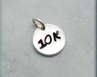 Tiny 10K Charm, Sterling Silver, Runners Jewelry, Running Charm, Distance Charm, Add On for Bracelet, Handstamped, Race, Sport