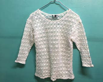 Vintage 90s does 60s 70s open knit crochet top // 1990s revival //  small medium