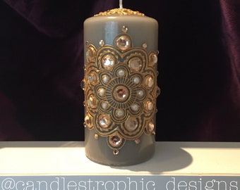 Grey Henna Candle with Gold