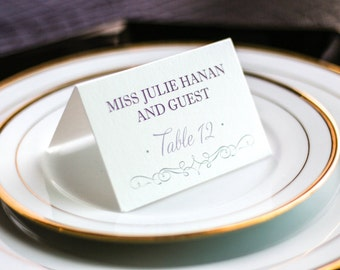"""Purple and Grey Wedding, Banquet Placecards, Reception Seating, Special Event Dinner - """"Enchanting Vintage"""" Tented Placecard v3 - DEPOSIT"""
