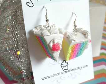 Rainbow Cake with Hot Pink Gum Drop Earrings