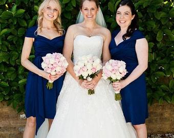 Nautical Navy Blue Dress XS- 5XL ... Navy Blue Convertible Bridesmaids Dress ... 37 Colors... Black Tie,  Cocktail Party, Maternity Dress