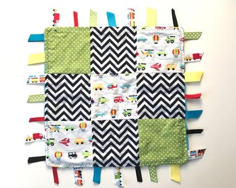 SALE!!! Security Tag Quilt Blanket- Baby Shower Gift- Boys- Car Train -Minky- Lovey- Lovie- Chewy- Teether-Teething-Present- Hot Air Balloon