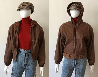 Vintage Cropped leather jacket / leather jacket xs / bomber leather jacket / hooded leather jacket / 90s leather jacket / brown jacket women