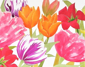 Tulip Jamboree II, Floral Greetings Card of multiple Tulips, suitable for any occasion, from Original watercolour painting.