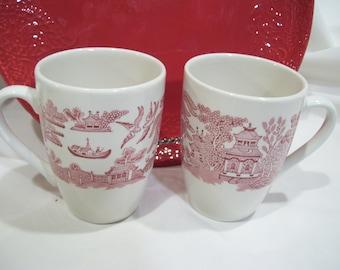 2 Asian Red Transferware Made in England Coffee Mugs