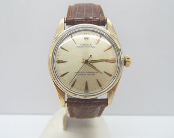 Rolex Oyster Perpetual 14k Gold Capped Watch Model 1024 Cal 1560 On Strap